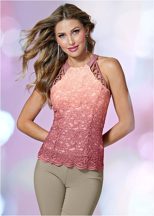 GLITTER OMBRE LACE TOP,SLIMMING STRETCH JEGGINGS,EMBELLISHED BUCKLE HEEL,RHINESTONE DETAIL HOOPS