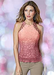 Front View Glitter Ombre Lace Top