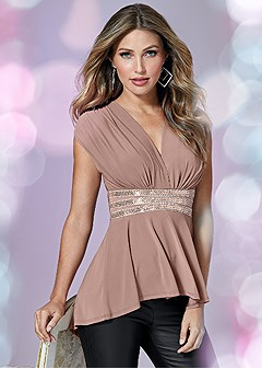 embellished waistband top