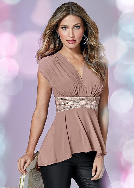 EMBELLISHED WAISTBAND TOP,FAUX LEATHER LEGGINGS,HIGH HEEL STRAPPY SANDALS