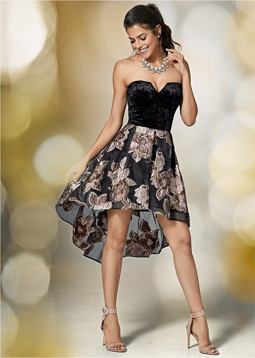 846500f902d02 Black Multi STRAPLESS HIGH LOW DRESS from VENUS