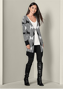 oversized abstract cardigan