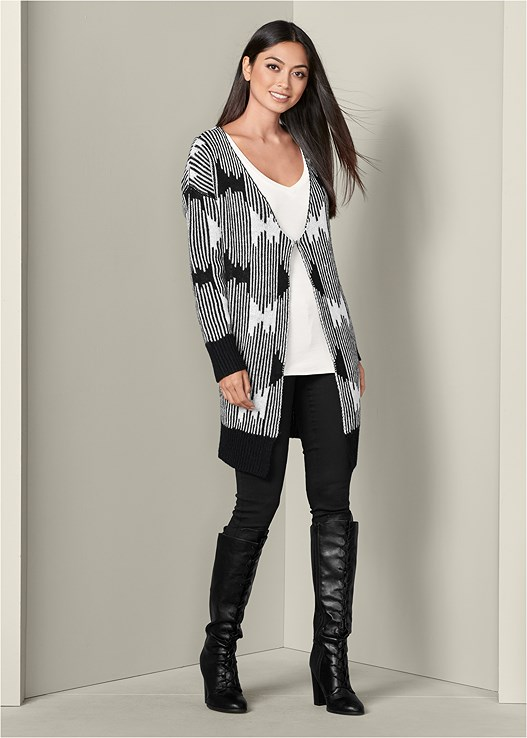 OVERSIZED ABSTRACT CARDIGAN,RIBBED V-NECK TOP,COLOR SKINNY JEANS,LACE UP TALL BOOTS