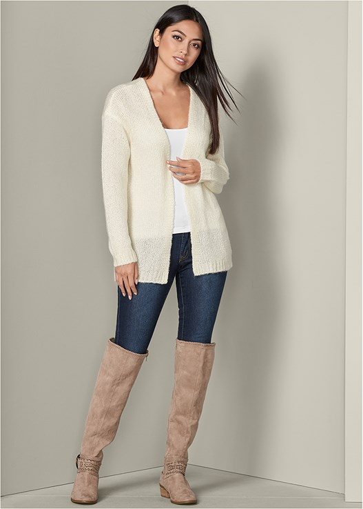 COZY LONG CARDIGAN,SEAMLESS CAMI,COLOR SKINNY JEANS,BUCKLE DETAIL BOOTS