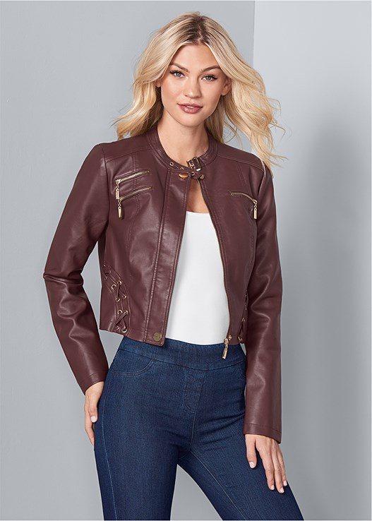 FAUX LEATHER LACE UP JACKET,SEAMLESS CAMI,SLIMMING STRETCH JEGGINGS