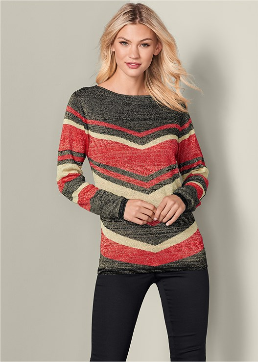 STRIPED SWEATER,COLOR SKINNY JEANS,TIE BACK BOOTS