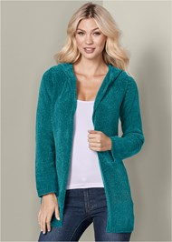 Front View Hooded Cardigan