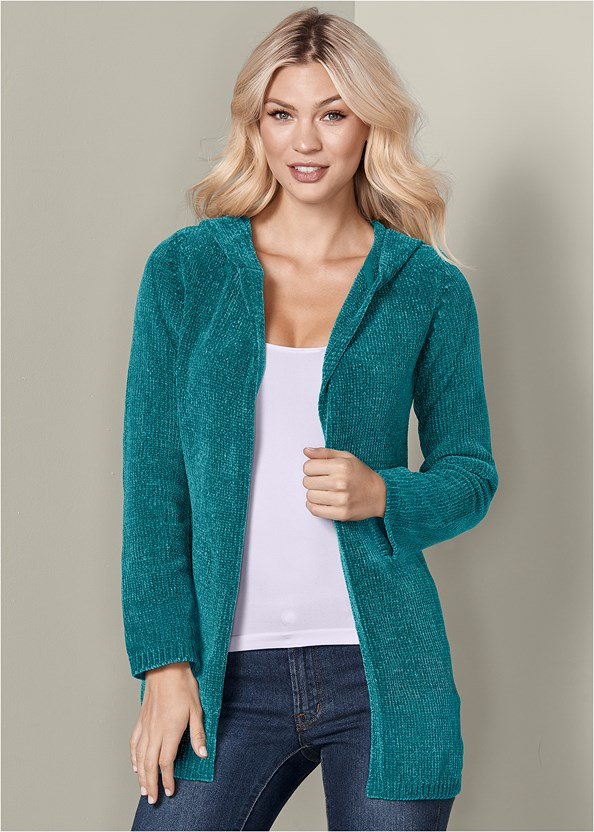 Hooded Cardigan,Basic Cami Two Pack,Mid Rise Color Skinny Jeans