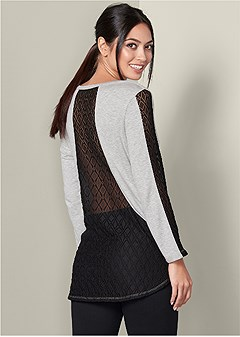 lace detail lounge top