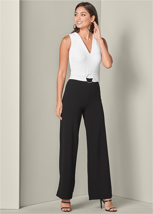 Belted Jumpsuit,High Heel Strappy Sandals,Bauble Hoop Earrings
