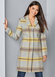 Front View Plaid Coat
