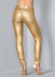 Back View Metallic Jeans