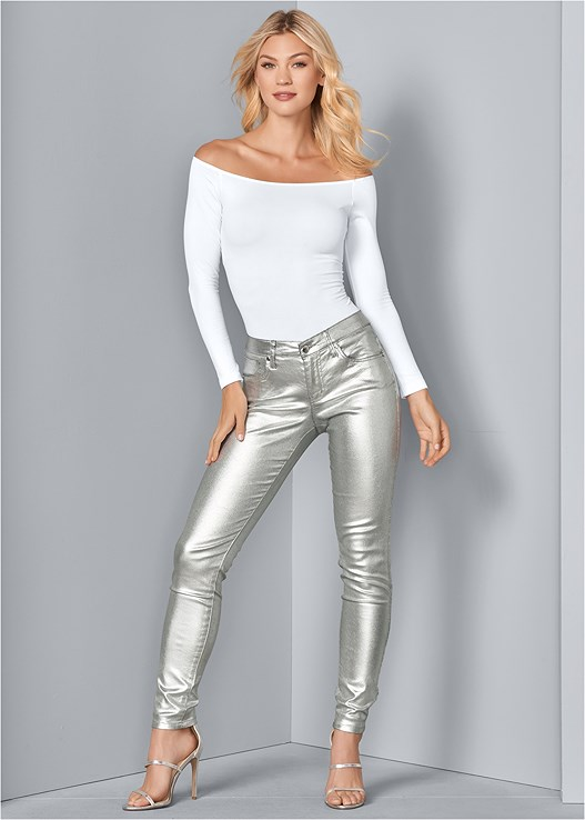 METALLIC JEANS,OFF THE SHOULDER TOP,HIGH HEEL STRAPPY SANDALS