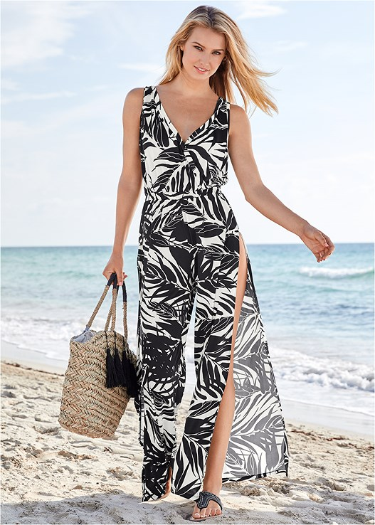 SLIT LEG JUMPSUIT COVER-UP,LOVELY LIFT WRAP BIKINI TOP,LATTICE SIDE BIKINI BOTTOM