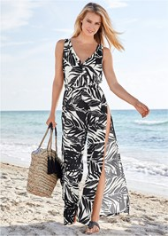 Front View Slit Leg Jumpsuit Cover-Up