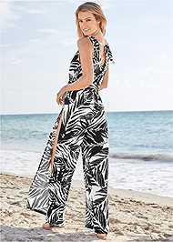 Back View Slit Leg Jumpsuit Cover-Up