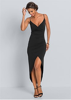 plus size high slit party dress