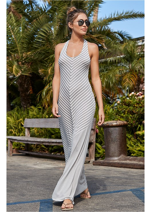 STRIPED MAXI COVER-UP,CROCHET TRIMMED MONOKINI,STRAW FRINGE HAT