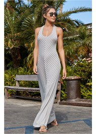 Front View Striped Maxi Cover-Up
