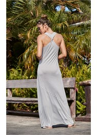Back View Striped Maxi Cover-Up