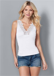 Front View Lace Detail V-Neck Top