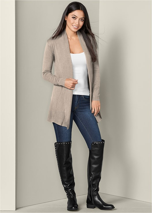 OPEN FRONT LONG CARDIGAN,SEAMLESS CAMI,COLOR SKINNY JEANS,STUD DETAIL BOOTS