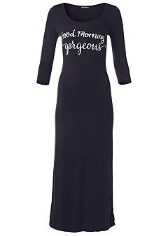 plus size graphic sleep maxi dress