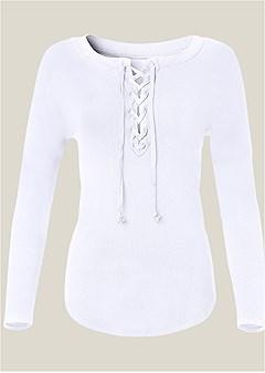 plus size lace up sleep shirt