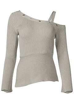 plus size grommet detail sweater