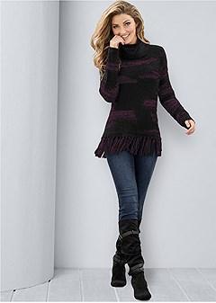 contrasted fringe sweater