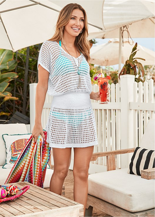 CROCHET DRESS COVER-UP,ENHANCER PUSH UP TRIANGLE,LOW RISE BIKINI BOTTOM,SCOOP FRONT BIKINI BOTTOM