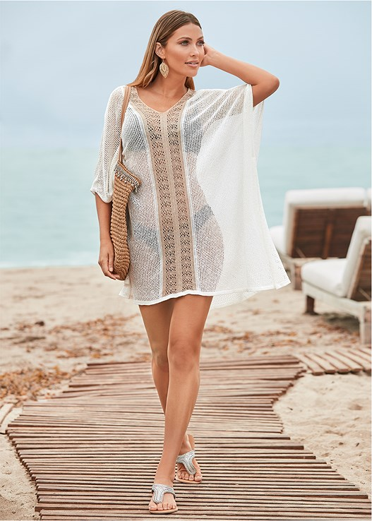 CROCHET CAFTAN COVER-UP,ENHANCER PUSH UP BRA,SCOOP FRONT BIKINI BOTTOM,LOW RISE BIKINI BOTTOM