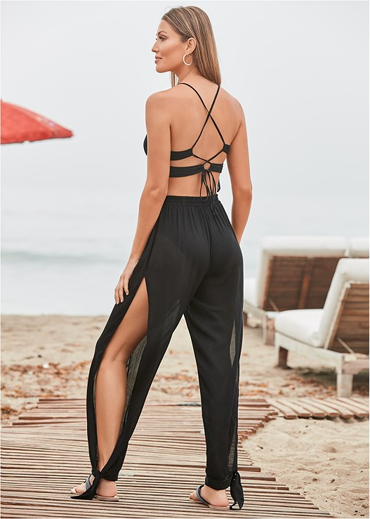 STRAPPY BACK JUMPSUIT,TRIANGLE BIKINI TOP,STRING SIDE BIKINI BOTTOM