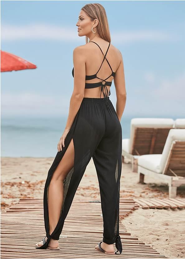 Strappy Back Cover-Up Jumpsuit,Triangle String Bikini Top,String Side Bikini Bottom