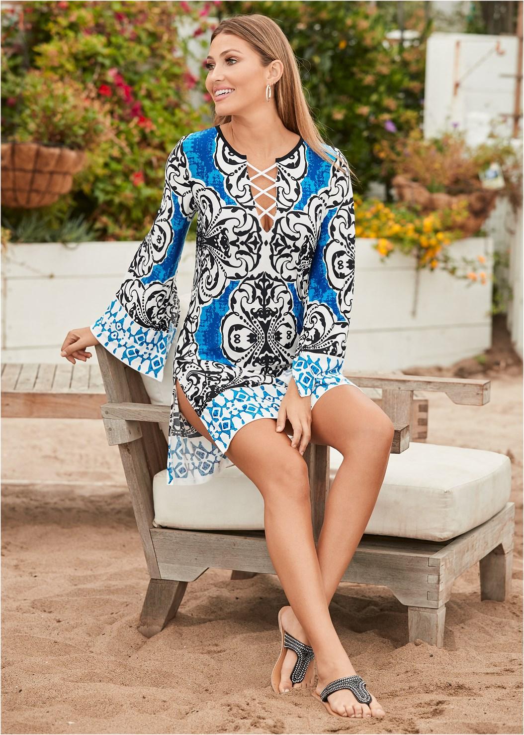 Printed Cover-Up Dress,Triangle String Bikini Top
