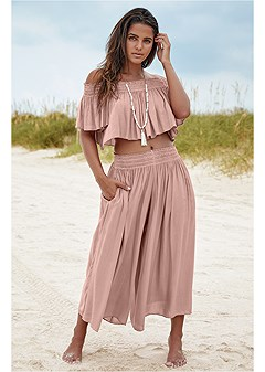 smocked waist cover-up pant