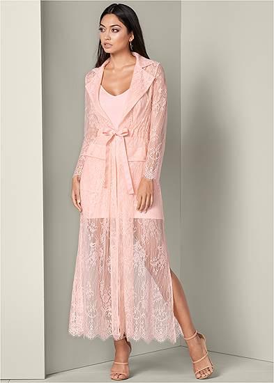 Lace Detail Coat Dress