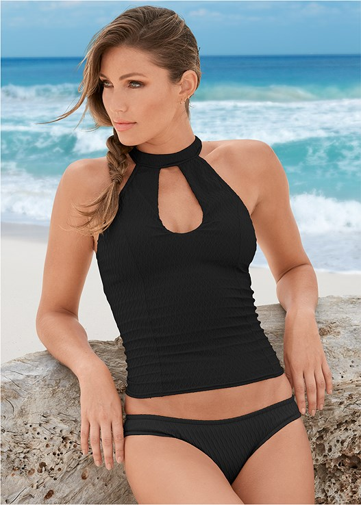 LOW RISE BIKINI BOTTTOM,TEXTURED HIGH NECK TANKINI