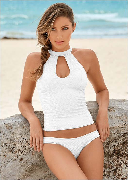 TEXTURED HIGH NECK TANKINI,LOW RISE BIKINI BOTTTOM,TEXTURE SCOOP BIKINI BOTTOM,WAVE TEXTURE ONE-PIECE,MESH WRAP SKIRT