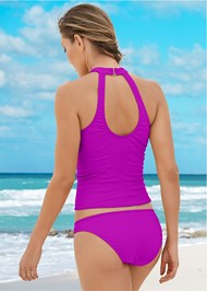 Back view Textured High Neck Tankini