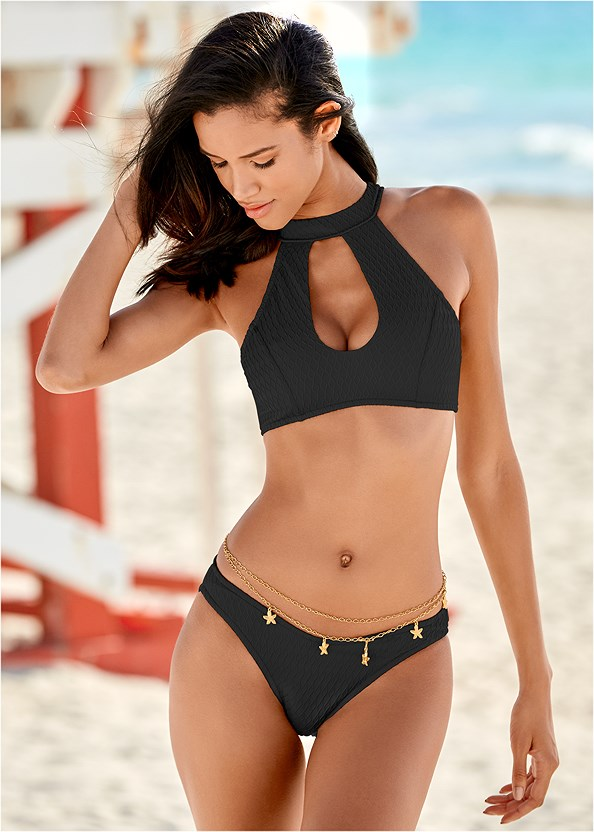 Texture Scoop Bikini Bottom,Full Coverage Bra Top