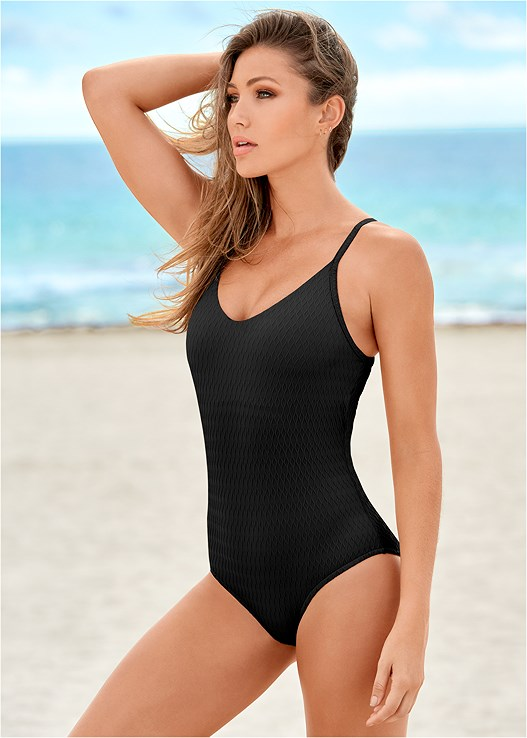 WAVE TEXTURE ONE-PIECE,SLIT LEG JUMPSUIT COVER-UP,BEAD TRIM STRAW HAT