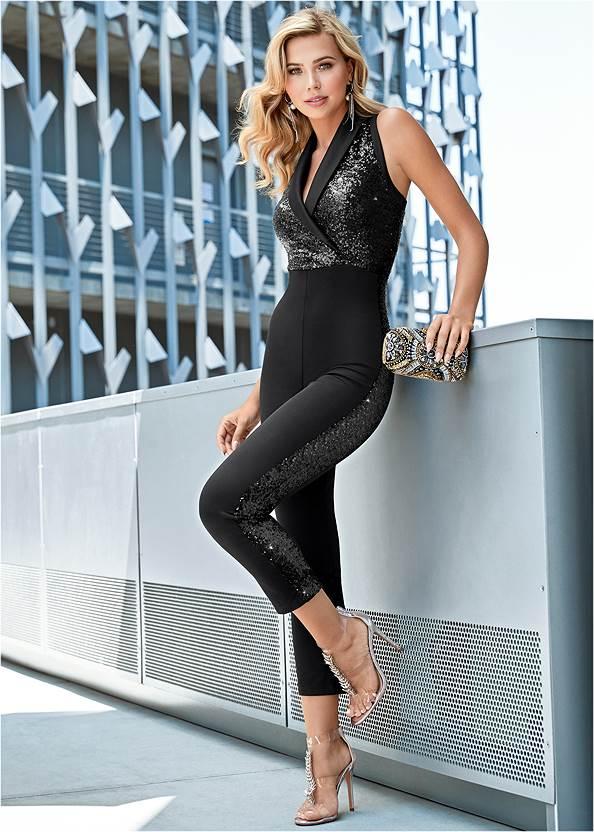 Sequin Tuxedo Jumpsuit,High Heel Strappy Sandals,Rhinestone Fringe Earrings,Rhinestone Raffia Clutch