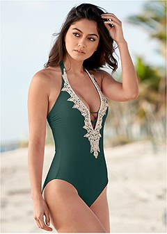 beaded crochet one-piece