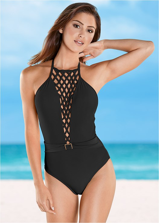 c1bab1f0943f5 BELTED LATTICE ONE-PIECE Swimsuit in Black Beauty | VENUS