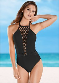 Front view Belted Lattice One-Piece