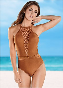 belted lattice one-piece