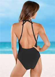 Back view Belted Lattice One-Piece