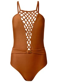 Alternate View Belted Lattice One-Piece