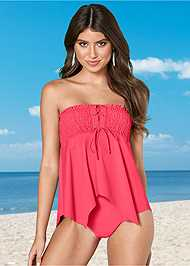 Front view Grommet Smocked Tankini